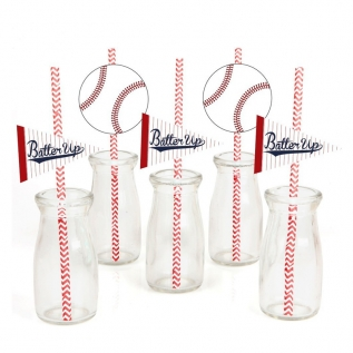 Batter Up – Baseball Paper Straw Decor