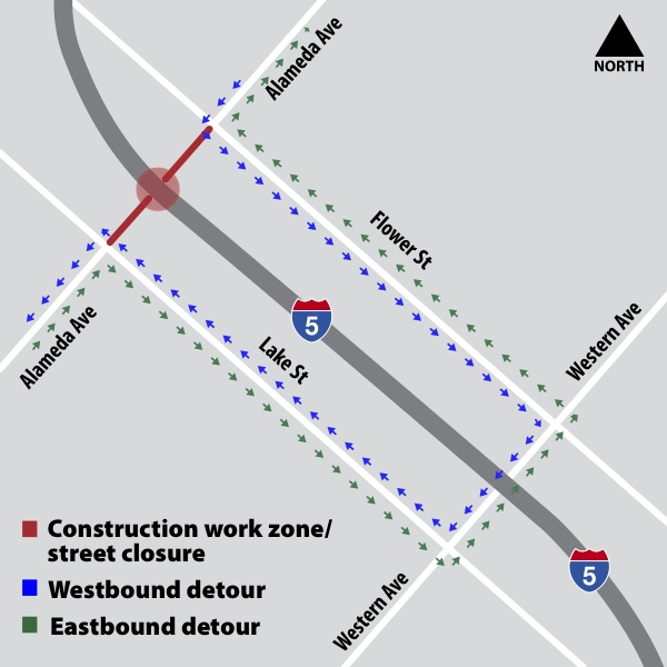 Caltrans to Close Alameda at I-5 Freeway Starting Sunday