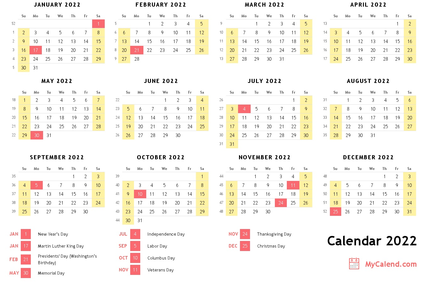 2022 Calendar with holidays - free printable calendar