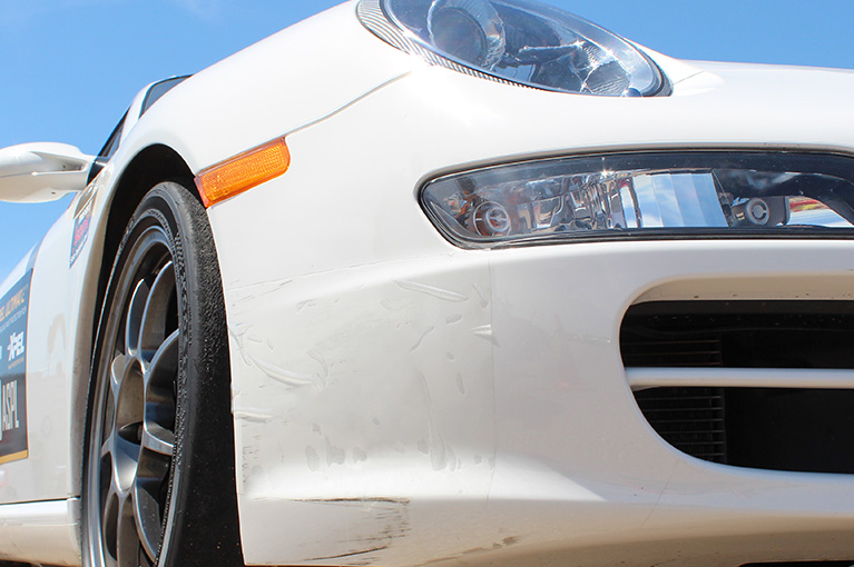 xpel film on white car front bumper