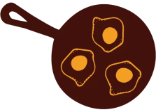 Frying Pan with Eggs Doodle