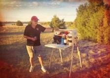 Richard Snogren with My Camp Kitchen Outdoorsman at Sunset