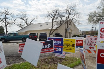 candidate signs outside polling place