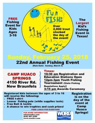 WORD 22nd Annual Fun Fishing Event @ Camp Huaco Springs | New Braunfels | Texas | United States