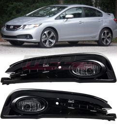 awesome for 2013 2015 honda civic oe factory fit fog light bumper wiring kit clear lens 2018 2019 [ 1080 x 1080 Pixel ]