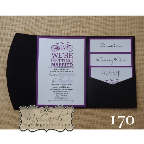 A6 Pocketfold With Inserts Wedding Invitation 170 MYCARDS