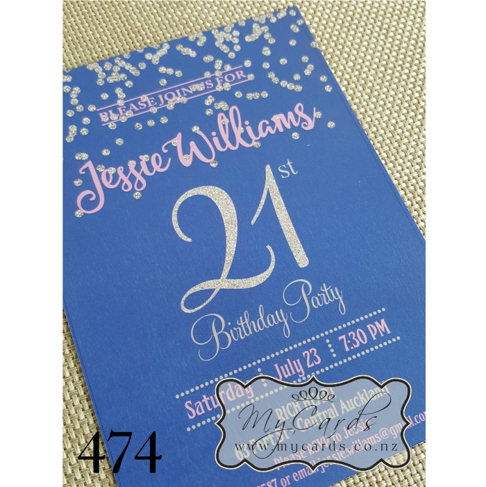 Silver Glitter Confetti Blue Pink 21st Birthday Invitation