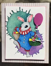 Little boy Easter cards are hard to find. This is a digi stamp, painted with Copic Markers, balloon added and printed on a background made from a HungryJpg bundle.