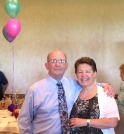 Celeste is pictured above with her husband, Vinnie Mullally who is also a busy volunteer teaching line dancing at the Cascades and Leesburg Centers.