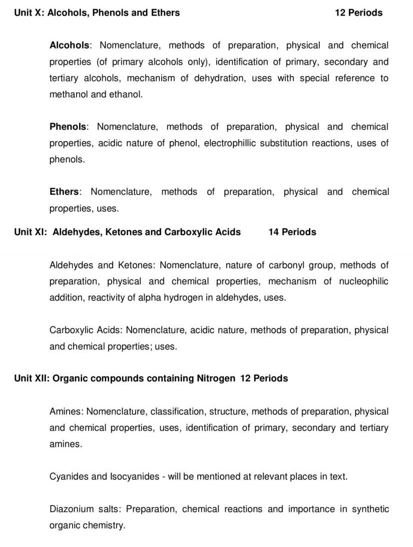 CBSE Class 12 Chemistry Syllabus - 2019-2020 Syllabus PDF
