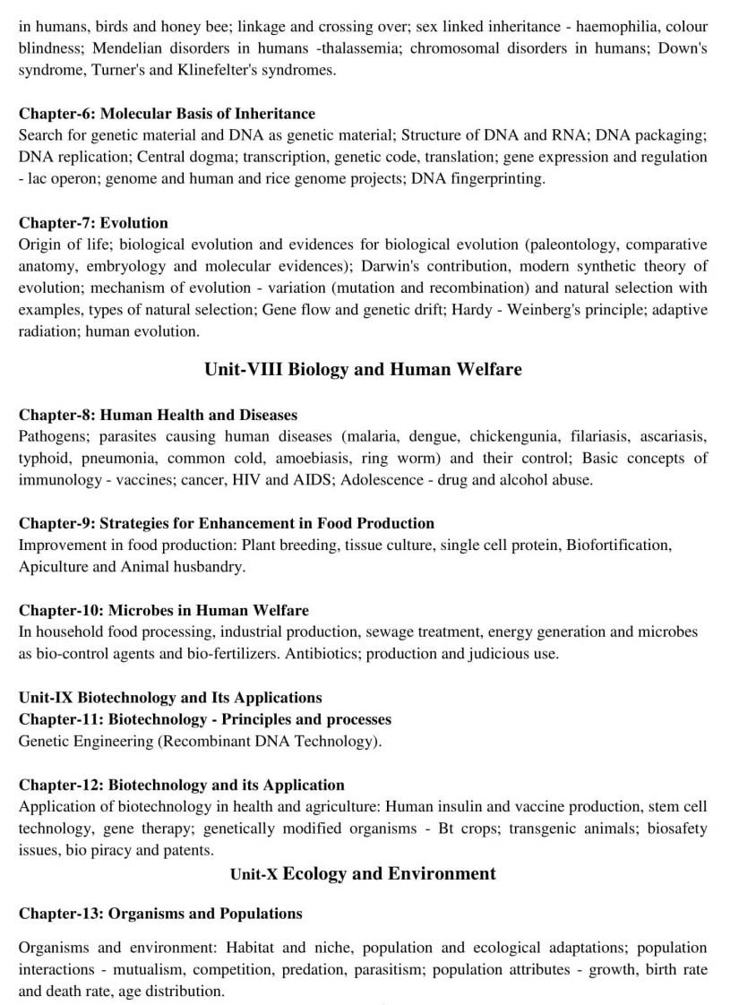 CBSE Class 12 Biology Syllabus - 2019-2020 Syllabus PDF