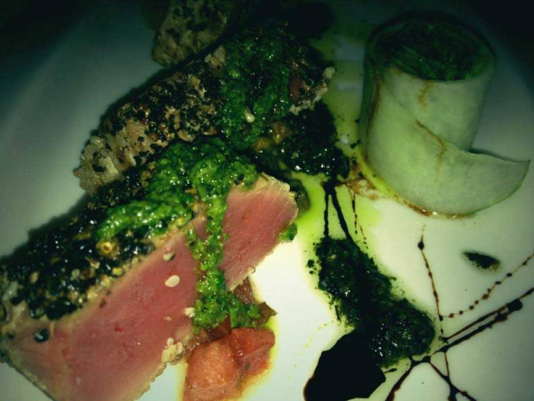 Fresh tuna served with herbs and spices and the chef's special sauce. This dish is exceptional. (Photo by Marlen Limpag)