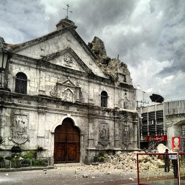 BASILICA MINORE DEL SANTO NIÑO. The belfry of the Basilica Minore del Santo Niño crumbled during this morning's earthquake. (Photo by Bernie Arellano posted in his Instagram account)