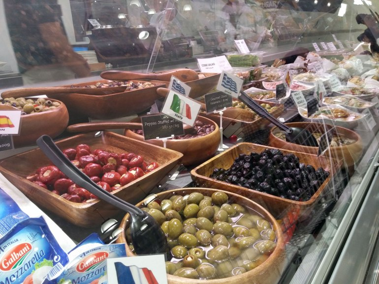 Olives on display at Rustan's Gourmet to Go section.