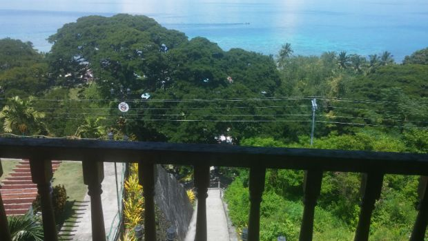 View of Tañon Strait from the centuries-old watchtower in Samboan. Below is the Escala de Jacob, a stone staircase that provided coastal communities easier access to the church in olden times.