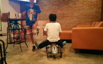 CAFE'S RACER. I don't know if this is allowed but our kid played with this small racer in the cafe. (Photo by Max Limpag)