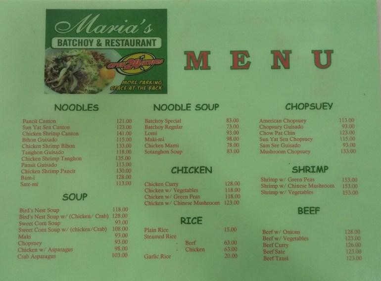 Maria's Batchoy menu