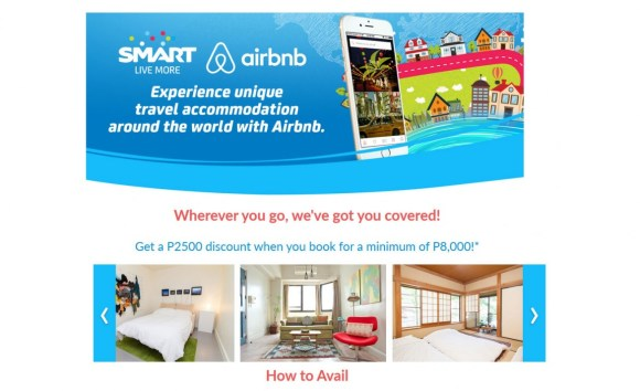 Smart subscribers will get as much as P2,500 discount when they book a stay in Airbnb.