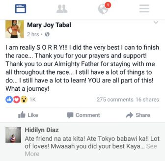 APOLOGY NOT NEEDED. Olympian Hidilyn Diaz tries to cheer Mary Joy Tabal up after the Cebuano posted an apology in Facebook.