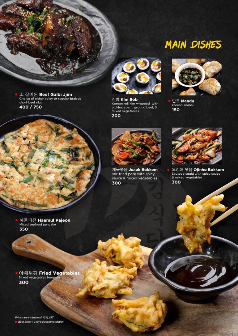 Kimstaurant Cebu menu