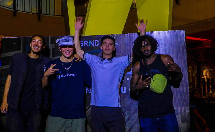 DC GOSKATEBOARDING DAY. (From left) Alexis Ramirez, Shaun Paul, Alex Lawton, and Cyril Jackson during the Meet and Greet event at the Ayala Center Cebu.