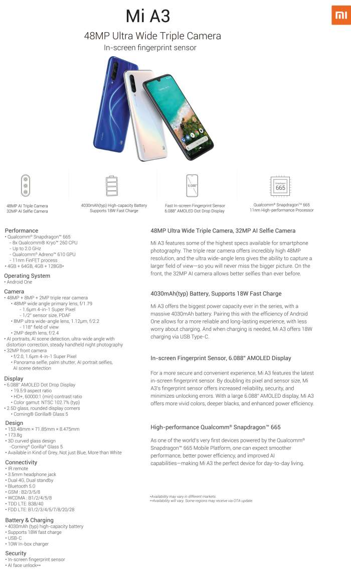 Mi A3 product specifications