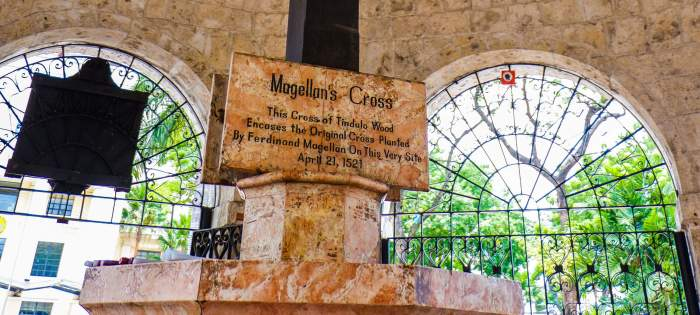 IS THIS ACCURATE? Thousands of tourists visiting Magellan's Cross daily think, because of this panel, that part of the cross is still there and that it was planted at this very spot. Those claims don't have historical support.