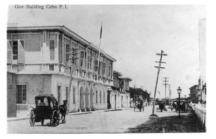 OLD CAPITOL. This photo shows the Casa Provincial where Cebu's governors and other provincial officers held office. It was located on what was then known as Calle de los Trece Martires, now M. J. Cuenco Avenue. According to the photo file, you can see at the far end the Colegio Parvulos del Santo Niño Jesus. (Photo from the Medalle Collection and used with permission of the Cebuano Studies Center of the University of San Carlos.)