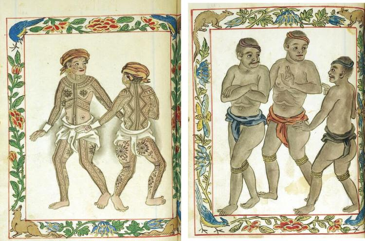 VISAYAN PINTADOS. The Boxer Codex, a book published in the 16th century, contains illustrations of ethnic groups across Asia, including the Philippines. Above left is its illustration of Pintados of the Visayas, where people used to extensively tattoo their bodies. At right are Visayan slaves.