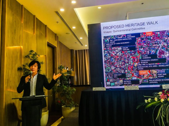 HERITAGE WALK. Designer Kenneth Cobonpue, head of the Visayas Quincentennial Committee, discusses the heritage walk the Cebu City Government and various stakeholders want to put up in time for the celebration.