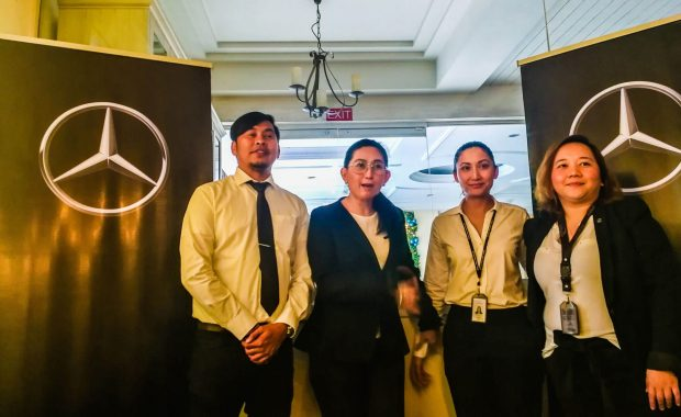 Global Star Motors General Manager Ritchell Selma (2nd from left) and her team during the announcement of the blowout sale. Global Star is authorized distributor of Mercedes-Benz vehicles in the Visayas and Mindanao.