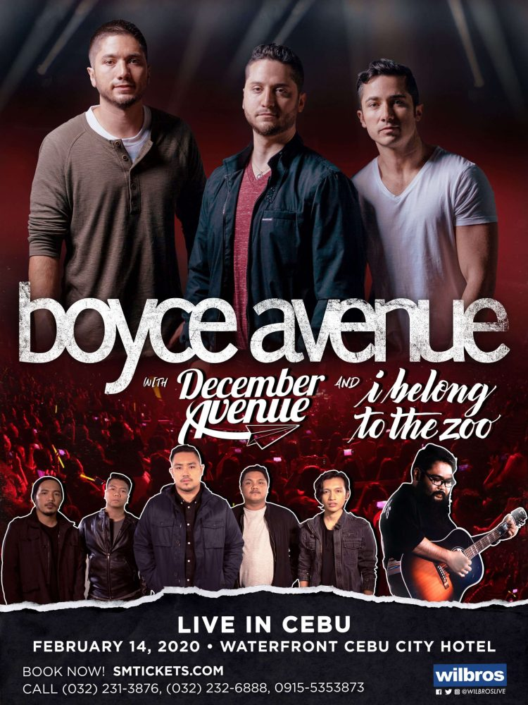 Boyce Avenue will be back in Cebu for a one-night Valentine's Day concert on February 14 at the Waterfront Cebu City Hotel – Grand Ballroom.