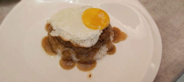 LOCO MOCO. This is Hawaiian-style burger steak served on a bed of Japanese white rice with brown gravy and egg.