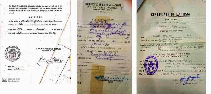 Bantayan parish baptism papers