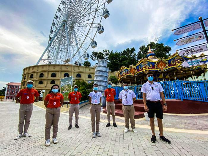 WELCOME BACK. Belmont One president Mr. Chester Lim (extreme right) together with Mr. Cedric Reyes, head of sales, marketing and press relations of Anjo World (2nd from right) and the management team. Cebu's premier amusement park is now ready to again welcome guests.
