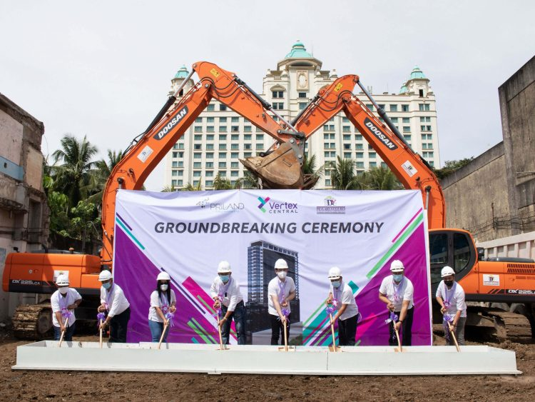 Priland Development Corporation starts 2021 with the groundbreaking of Vertex Central. From left: Devlarn Ventures and Development Corporation VP for Operations Reynaldo Eugenio, COO Eduardo Bagcat, VP for Admin and Finance Engr. Nathalie Vargas, CEO and President Engr. Deryl Vargas; Priland Development Corporation President Ramon Carlo Yap, COO Marcelino Relampagos, VP for Sales and Marketing Dudes Tuanquin, and Planning and Design Manager Ar. Mark Inario.