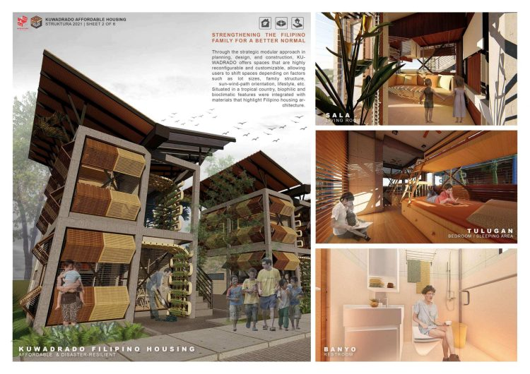 Kuwadrado by Chester Neil Cunanan from the University of the Philippines Diliman won second place in the STRUKTURA design competition.