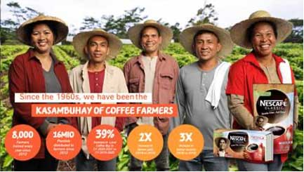 Nestlé Philippines, one of the country's top corporations and a leading Nestlé market worldwide, marked its 110thyear by committing to intensify its programs as Filipinos' Kasambuhay for Good. In line with this, the company pioneers efforts to enhance the quality of life of Filipino coffee farmers through the NESCAFÉ Plan.