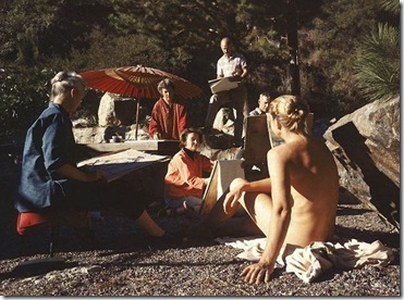 Artists paint a nude model outdoors in Big Sur, California, in 1959