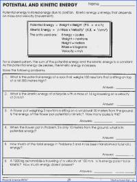 Conservation Of Energy Worksheet Answers | Mychaume.com