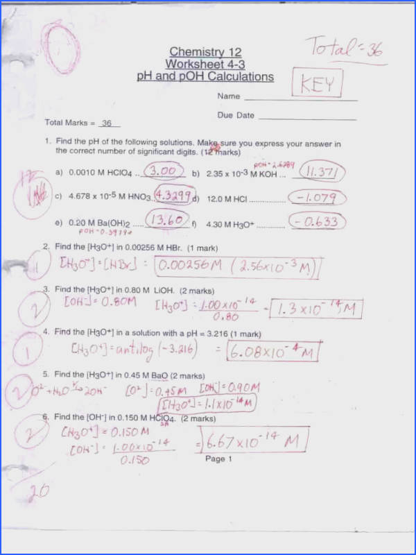 Ph And Poh Worksheet Answers - Worksheet List