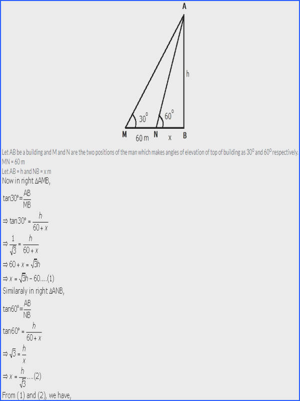 Angle Of Elevation and Depression Worksheet with Answers
