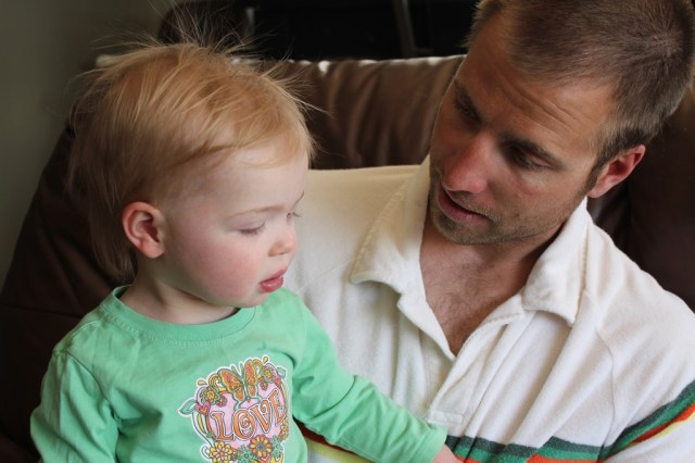 Telling Daddy about how crappy she was feeling.
