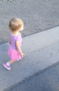 Practicing walking close to Momma without holding hands!