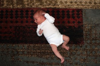 You can barely tell it's a cloth diaper under there!