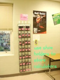 using shoe holders to store calculators and other supplies