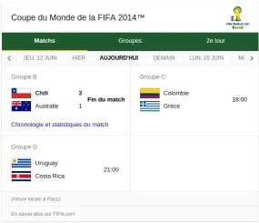 Agenda coupe du monde