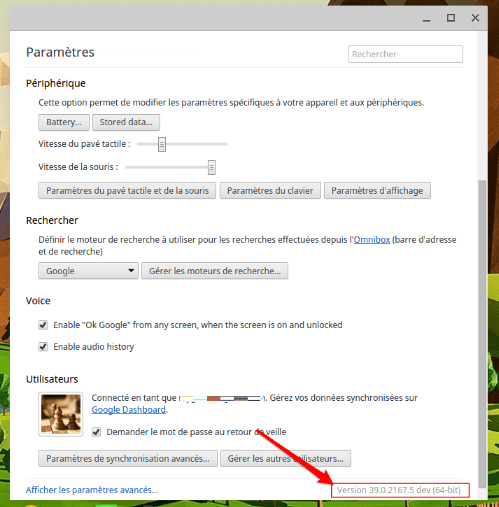 Version logiciel Chrome OS