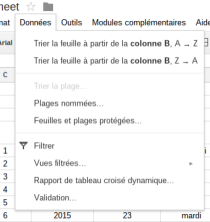 Données validation Google Sheet