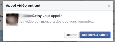 Appel entrant facebook